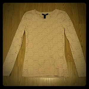 Forever 21 Floral Lace Top in Light Pink NWOT